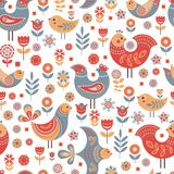 Pattern Nordic Style With Flowers and Birds. stock illustration