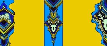 Pattern with octopus and deer skull. Pattern with a octopus and a skull of a deer in the ethnic style on a yellow background Stock Photos