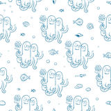 Pattern with octopus. Marine seamless pattern with cute cartoon octopus, fish and shells on white background. Underwater life. Children's illustration. Vector Stock Images