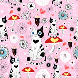 Pattern Of Cats And Flowers Stock Photo