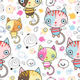Pattern Of Kittens And Fish Stock Photos