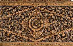 Pattern Of Rose Carved On Wood Royalty Free Stock Photos