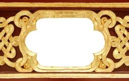 Pattern Of Wood Frame Carve Flower On Black Background Royalty Free Stock Image
