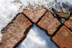 Pattern of old bricks in snow and ice Royalty Free Stock Images