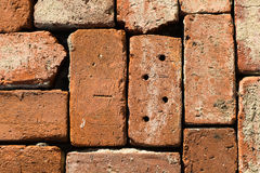Pattern of old bricks in snow and ice 3 Stock Photo