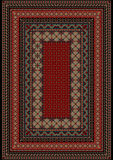 Pattern old carpet with motley ornament on the border and burgundy mid. Luxurious vintage oriental pattern old carpet with motley ornament on the border and Stock Photo