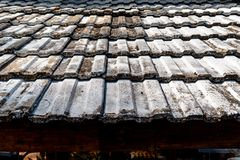 Pattern of old clay tile roof of a house with old-fashioned design. stock images