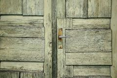 The pattern of old green door Royalty Free Stock Images