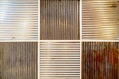 Pattern of old and new galvanized iron wall. royalty free stock images