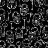 Pattern of the old padlocks and keys. Vector pattern of the sketches of the different padlocks and keys Stock Images