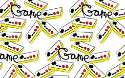 A pattern of old yellow retro vintage antique hipster joysticks for a game console for video games and an inscription game from th. E 80`s, 90`s on a white Royalty Free Stock Images