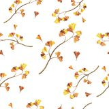 Pattern with orange ginkgo tree watercolor branches. Hand drawn illustration. stock illustration