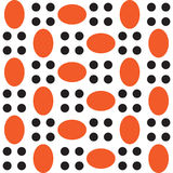 A pattern of orange ovals and black circles. Stock Images