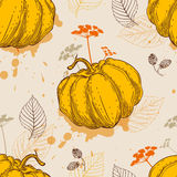 Pattern with orange pumpkin and leaves Stock Photo