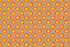 Pattern with orange spherical dots. Golden spherical polka dot pattern. Orange polka dot on braun background. The stylish geometric pattern.  Polka dot Royalty Free Stock Photos