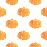 Pattern with orange watercolor pumpkin Stock Photos