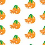 Pattern with oranges. Seamless pattern with oranges and leaves, set of oranges with leaf in pattern styles Stock Photography