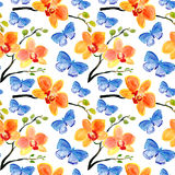 Pattern with Orchids flowers and butterflies Stock Image