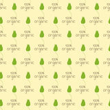 Pattern with organic logo. Seamless pattern with repeating green colored sprout with flaxen outline grows on brown lettering 100 percent organic on flaxen Stock Illustration