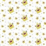 Pattern ornament with funny cute yellow monster on white background. Pattern ornament with funny texture cute yellow monster on white background stock illustration
