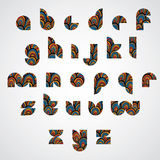 Pattern ornamental colorful abstract font, lower case letters. Stock Image