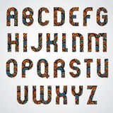Pattern ornamental colorful abstract font, upper case letters. Stock Photos