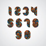 Pattern ornamental colorful abstract numbers. Royalty Free Stock Image