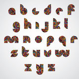 Pattern ornamental colorful fashionable font, lower case letters Royalty Free Stock Images