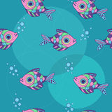 Pattern with ornamental fish and bubbles Royalty Free Stock Image