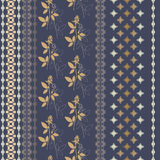 Pattern with ornate vertical stripes. Design for printing products on paper, fabric, ceramics Royalty Free Stock Image