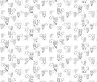 Pattern crazy cats. Outline cat on the white blackground. Stock Image