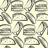 Pattern with outline rows of fast food symbols. Seamless pattern with outline rows of fast food symbols. Cute cartoon linear fastfood including hamburger, tacos Royalty Free Stock Photos