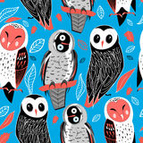 Pattern of owls Royalty Free Stock Image