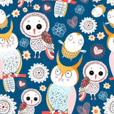 Pattern with owls Stock Image