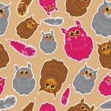 Pattern of owls Stock Photo