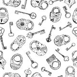 Pattern with a padlocks and keys. Vector background with ancient padlocks and keys Stock Images
