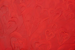 Pattern with paint-texture red  hearts Stock Image