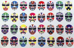 Pattern of painted faces. Royalty Free Stock Photo