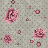 Pattern with paisley, beads and roses Royalty Free Stock Photo