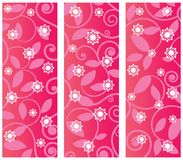 Pattern Panels. Three separate panels with pattern and overlay of funky flowers Vector Illustration