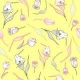 Pattern with pastel callas,tulips and leaves stock illustration