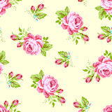 Pattern with pastel pink roses. Seamless floral pattern with pastel pink roses. Paper for scrapbooking, wedding card, greeting card in style Shebbi Chic Stock Images