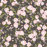 Pattern with pastel pink roses. Seamless floral pattern with pastel pink roses. Paper for scrapbooking, wedding card, greeting card in style Shebbi Chic Royalty Free Stock Image