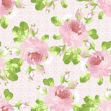 Pattern with pastel pink roses Stock Photos