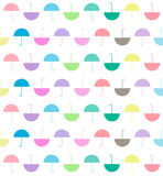 pattern of pastels color flat umbrellas on white background, vector royalty free illustration