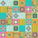 Pattern in patchwork in  graphics. Line square triangle Stock Photo