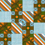 Pattern in patchwork in  graphics. Line square triangle Stock Image