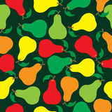 Pattern of pears of different colors. On a green background Stock Image
