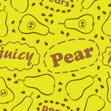 Pattern with pears. Yellow seamless pattern with pears and inscriptions: Pear, Pears and Juicy Royalty Free Stock Photo