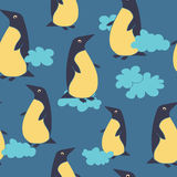 Pattern with penguin and clouds Stock Image